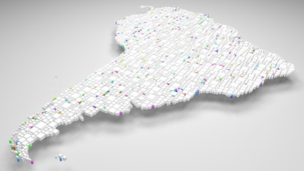 Map of Latin America | 3d Rendering, mosaic of little bricks - White and harlequin colors