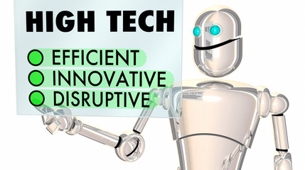 High Tech Robot Efficient Innovative Disruptive Touch Screen 3d Illustration