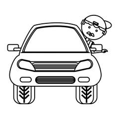 cartoon mechanic and car icon