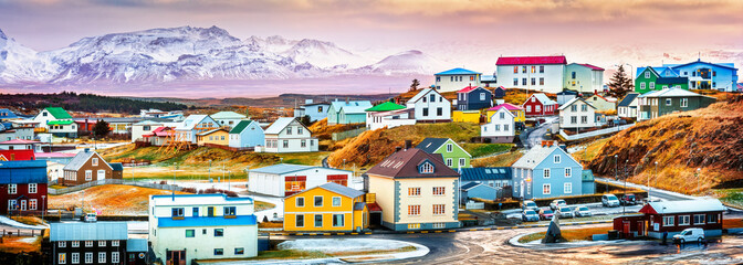 Stykkisholmur colorful icelandic houses. Stykkisholmur is a town situated in the western part of Iceland, in the northern part of the Saefellsnes peninsula Wall mural