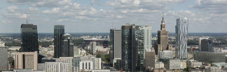 Panorama of Warsaw financial center