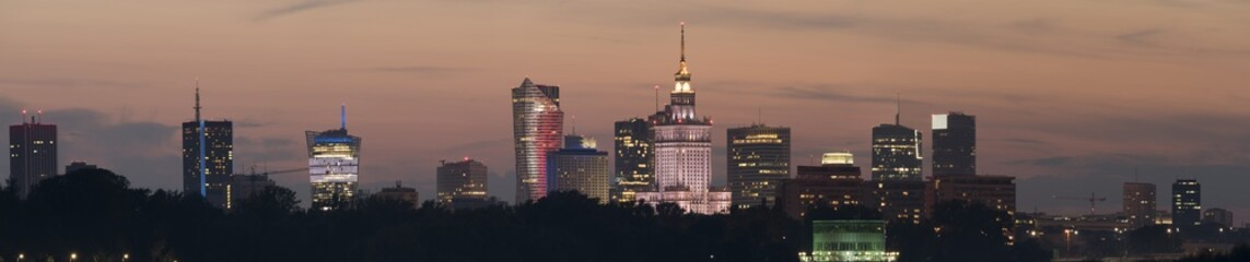 Night panoramic view of Warsaw skyline
