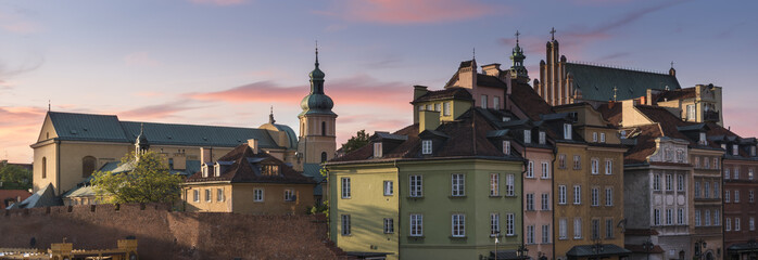 Warsaw's historical old town roofs panorama