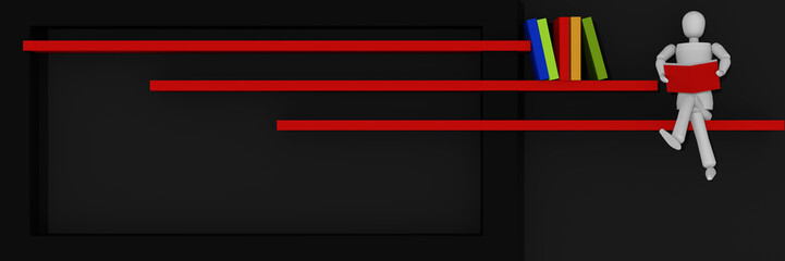 Website-Header/Banner in schwarz-rot, mit Balken auf denen Bücher stehen und  eine Marionetten-Figur sitzt und liest