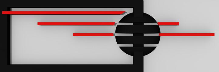 abstrakter Website-Header/Banner in schwarz,rot und weiß mit Balken und Kugel.