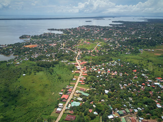 Aerial view on Bluefileds caribbean town