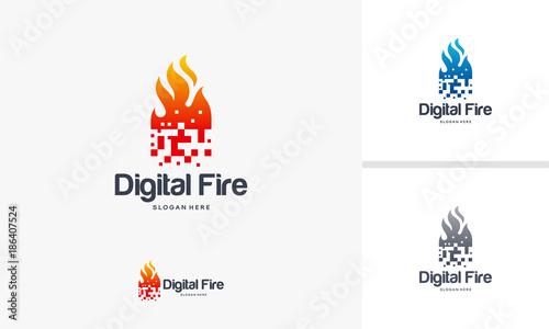 Digital Fire logo designs concept, Pixel Fire logo designs template ...