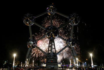 Fireworks light up the Atomium building as part of new year celebrations in Brussels