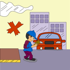 Road Safety Illustration Vector with character