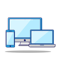 Flat line concept Laptop and phone. Vector