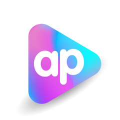 Letter AP logo in triangle shape and colorful background, letter combination logo design for business and company identity.