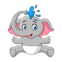 Happy Baby Elephant Take A Bath Shower