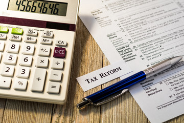 Tax reform concept with tax preparation forms for standard deductions