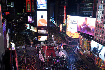 Revelers brave freezing cold temperatures in Times Square ahead of New Year's celebrations in New York City
