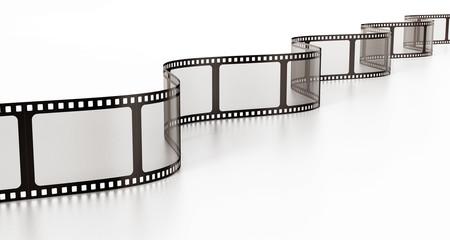 Vintage film strip isolated on white background. 3D illustration