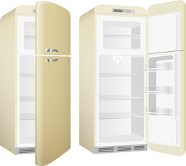 Realistic painted retro style kitchen refrigerator. Vector illustration set isolated on white background.