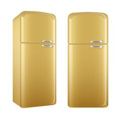 Realistic painted retro style kitchen refrigerator. Vector illustration set isolated on white background.