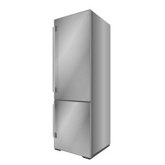 Modern steel refrigerator. Vector illustration on white background