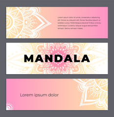 Abstract mandala banner design. Vector creative illustration with oriental boho elements. Pastel color theme flyers template.