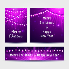 Set of Christmas cards with light garlands and text in violet and pink colors, vector illustration