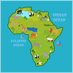 Vector map of Africa with various animals