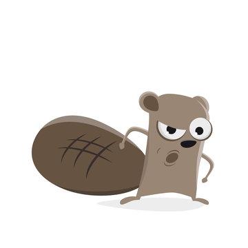 funny cartoon beaver is angry
