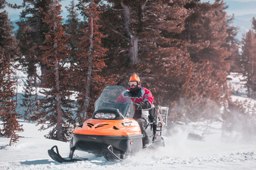 snowmobile riding. winter.