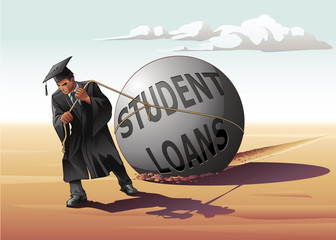 Man Dragging Student Loans