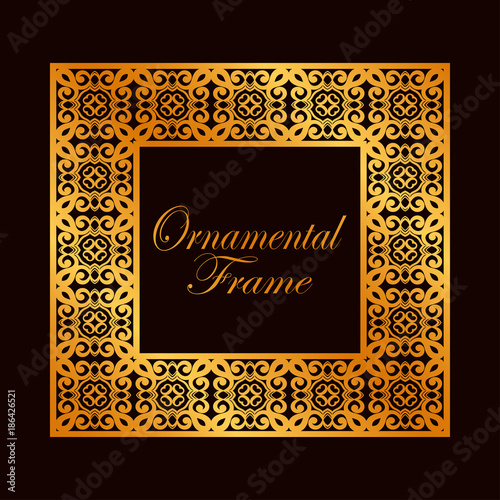 445d62c7d0c Retro ornamental golden frame. Flourished ornate border. Luxury elegant  ornament. Vintage element. Template for design. Vector illustration