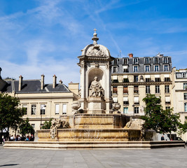 The Fountain Saint-Sulpice or Fountain of the Four Bishops. Paris, France
