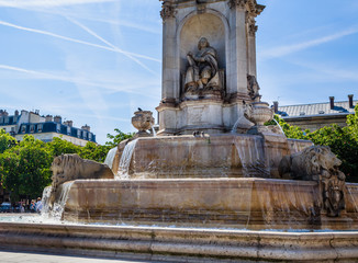 Fragment of the Fountain Saint-Sulpice or Fountain of the Four Bishops. Paris, France