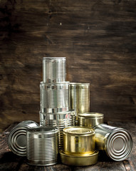 Food in tin cans.