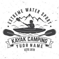 Kayak camping. Vector illustration.