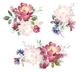 Set Watercolor flowers. Hand painted floral illustration. Bouquet of flowers pink rose, leaves and buds. Design arrangements for textile or greeting card. Abstraction  branch of flowers