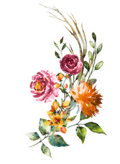 Watercolor flowers. Hand painted floral illustration. Bouquet of flowers rose