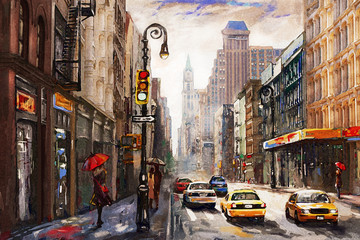 oil painting on canvas, street view of New York, man and woman, yellow taxi,  modern Artwork,  American city, illustration New York Wall mural