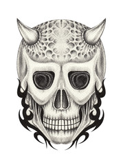 Art Devil Skull Tattoo. Hand pencil drawing on paper.