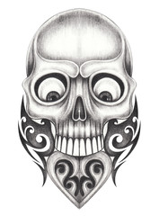Art Vintage Heart mix Skull Tattoo.Hand pencil drawing on paper.