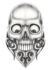 Art Vintage Heart mix Skull Tattoo.Hand pencil drawing on paper.