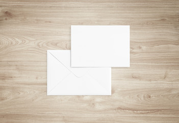 White blank envelope mockup and blank letterhead presentation template. Full Isolated.