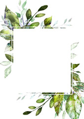 Card, Watercolor invitation design with  leaves. background with botanic elements for text, watercolor. Template.  frame