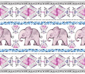 Seamless pattern, rim, border with watercolor illustration - indian elephant, geometrical  with triangle. Animal, ethnic. Strip, tribal ornament. Vintage blue and pink background.