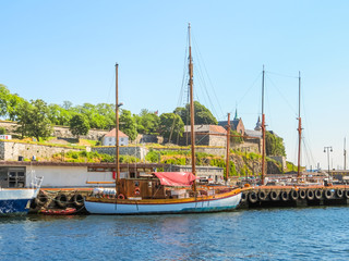 View of the Oslo Harbour and Akershus Fortress.