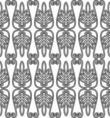 Vector seamless pattern. Modern stylish texture. Repeated geometric pattern. Lattice with abstract plants.