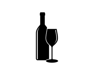 Black Bottle and Glass Beer for Bar or Cafe or Restaurant Symbol Logo Silhouette