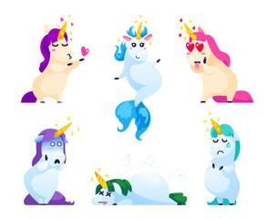 Set of unicorns isolated on white background.