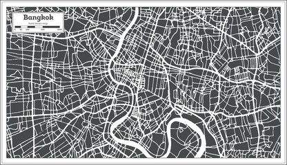 Bangkok Thailand City Map in Retro Style. Outline Map.