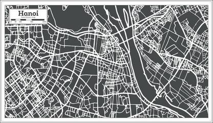 Hanoi Vietnam City Map in Retro Style. Outline Map.