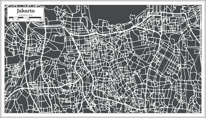 Jakarta Indonesia City Map in Retro Style. Outline Map.