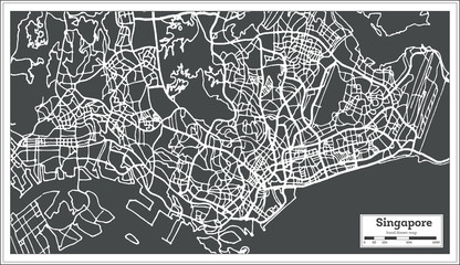 Singapore City Map in Retro Style. Outline Map.